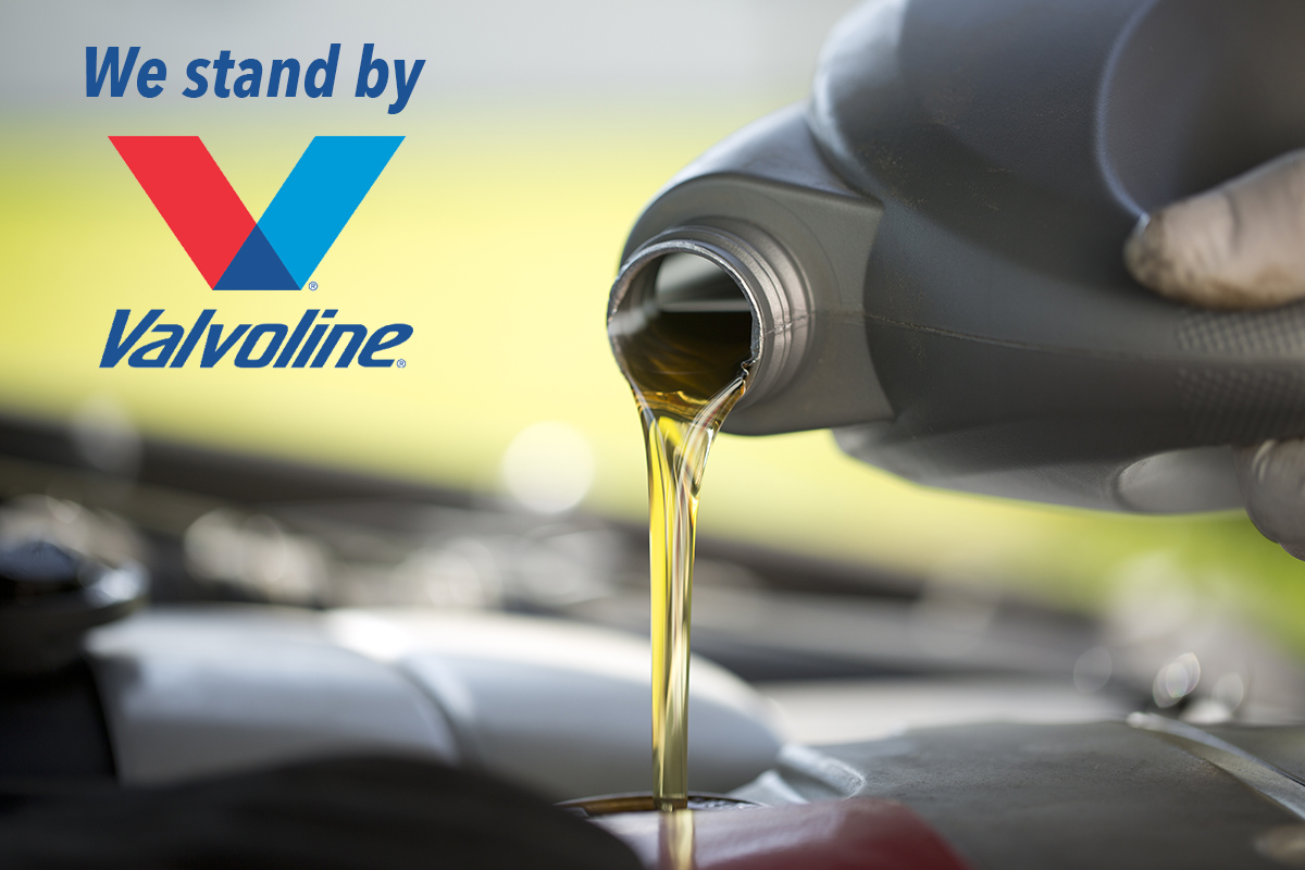 valvoline oil being poured.